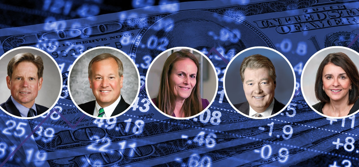 Left to right: Thomas L. Wentling Jr., Wentling Tarquinio Loughney Wealth Consulting Group, UBS Financial Services Inc. John Augustine, Huntington Bank. Elizabeth Genter, Schenley Capital. Gregory Curtis, Greycourt & Co. Linda Duessel, Federated Investors.