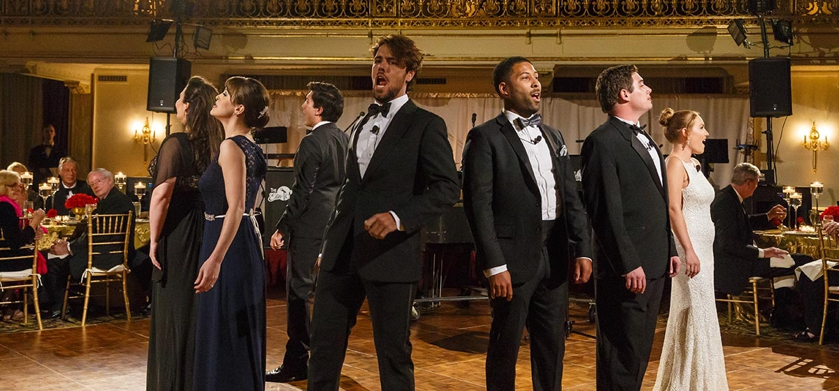 Brazilian tenor Thiago Arancam performs with Pittsburgh Opera Resident Artists. Pittsburgh Opera's Diamond Horseshoe Ball, Omni William Penn. September 22, 2017.