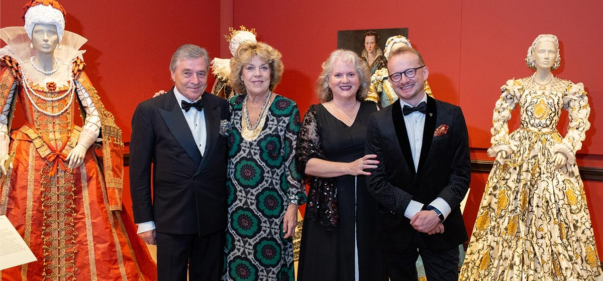 Werner and Isabelle de Borchgrave with Dianne and Robin Nicholson in the galleries of the contemporary art exhibition, Isabelle de Borchgrave: Fashioning Art from Paper. La Fête du Papier, The Frick Art Museum. November 1, 2018.