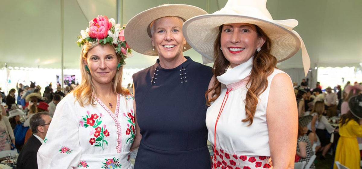 Ramsey Lyons (left( and Emily Mack Jamison (right) with Pittsburgh Parks Conservancy President & CEO, Jayne Miller. 2019 PNC Pittsburgh Parks Conservancy Spring Hat Luncheon. May 4, 2019.