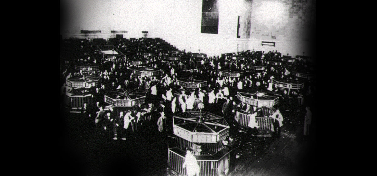 The trading floor of the New York Stock Exchange six months after the crash of 1929