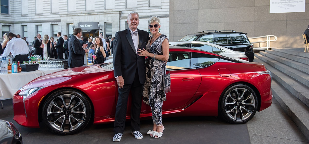 John and Lorianne Putzier. Pittsburgh Vintage Grand Prix, Blacktie & Tailpipes gala. July 13, 2019.