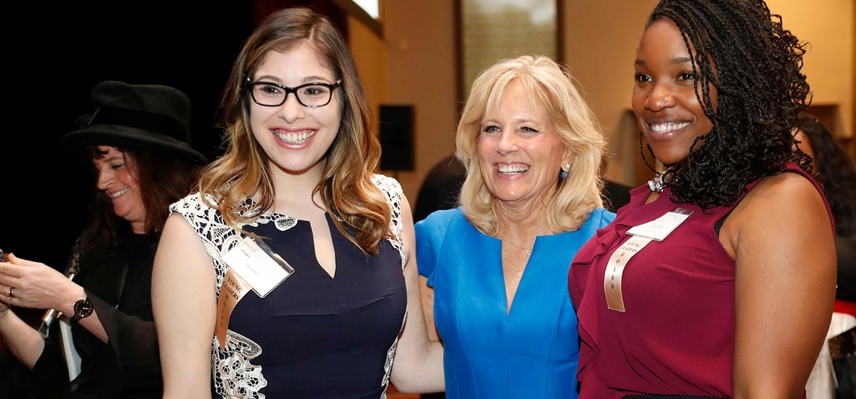 Catie Cohn, Jill Biden, Anissa Gilbert. YWCA 150th Anniversary Gala. April 13, 2018.