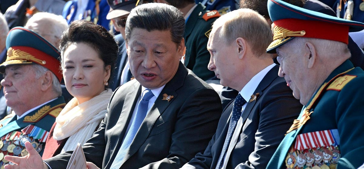 Xi with the first lady during the Moscow Victory Day Parade on May 9, 2015.