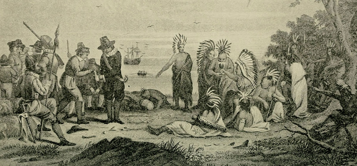 Massasoit meeting English settlers. (Lives of Famous Indian Chiefs by Norman B. Wood., 1906)
