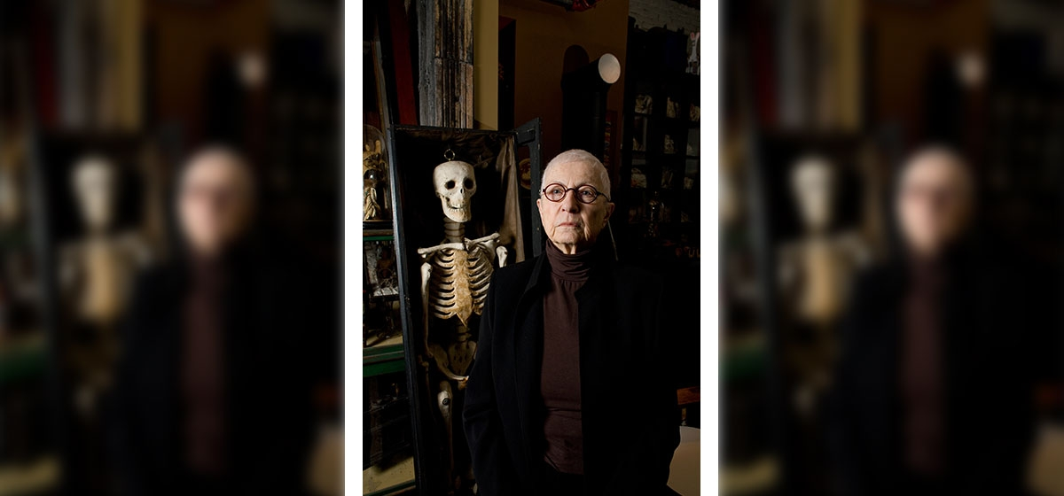 Carefully organized antique dolls, medical teaching models and modified books are just some of the unique art pieces and ephemera that populate Barbara Luderowski's living space. This coffin and paper maché skeleton were culled from a Masonic temple.