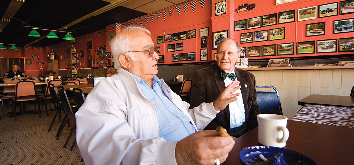 Canonsburg Mayor Anthony Colaizzo and Danny Bruno are members of ROMEO — Retired Old Men Eating Out. It is at Toys My Way Cafe that they meet every day for lunch.