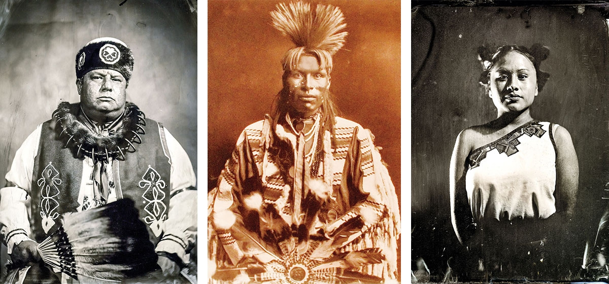 "Left: Native American photographer Will Wilson's portrait of John Shotton, chairman of the Otoe-Missouria tribe. Courtesy of the artist. Middle: Another Curtis photogravure, ""A Piegan Dandy"" depicts the fashion of young Piegan men in 1900. Right: Will Wilson's tintype, ""Insurgent Hopi Maiden."" Courtesy of the artist."