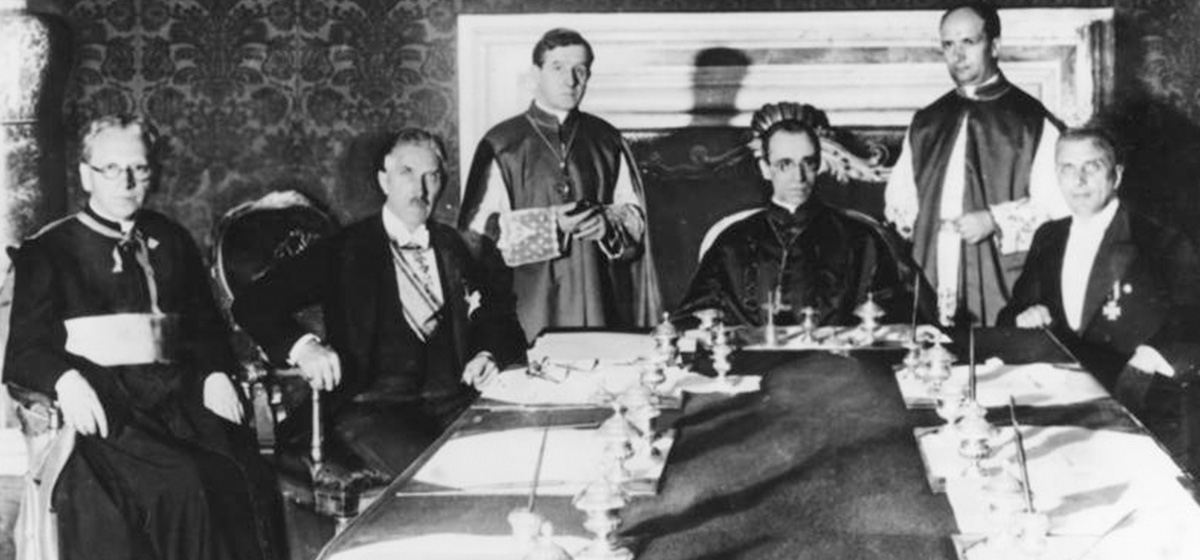 Nazi government signing the Reichskonkordat with the Vatican, guaranteeing the rights of the Church in Germany. July 20, 1933.