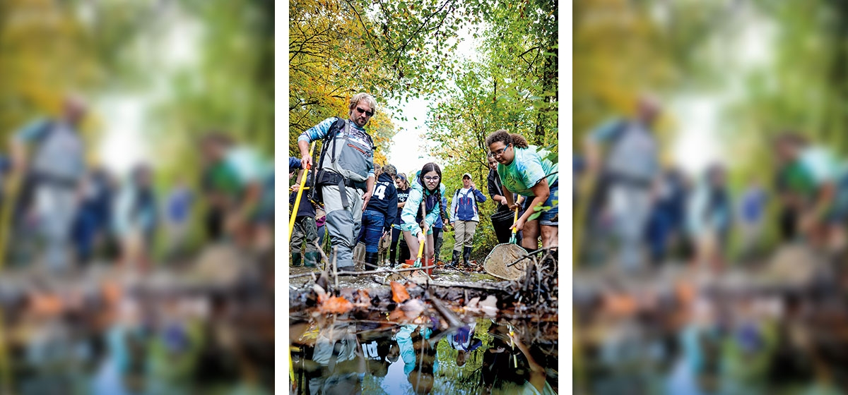 Quaker Valley High School students joined Eric Chapman, director of aquatic science at the Western Pennsylvania Conservancy, during a fish shocking in Little Sewickley Creek.