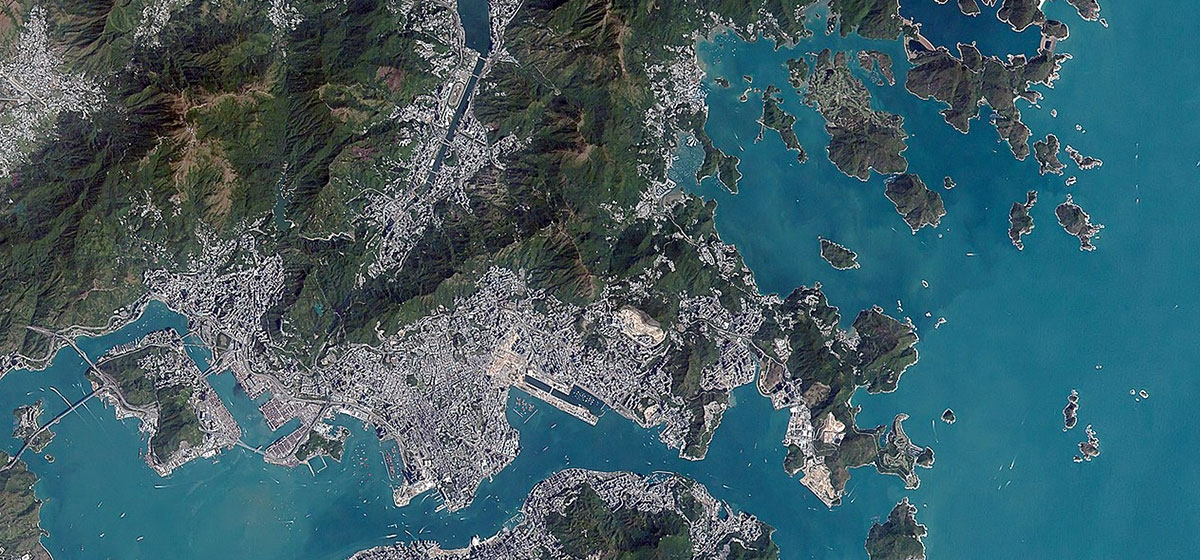 Hong Kong, China, as viewed by Hodoyoshi-1 satellite in January 2018.