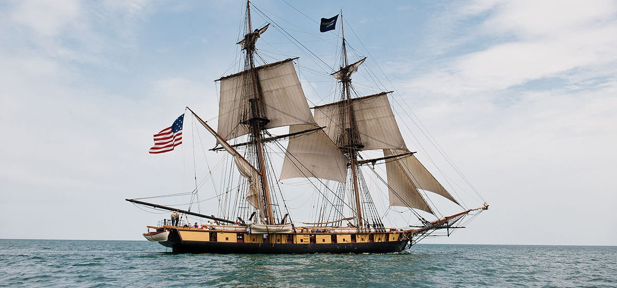 The flagship Niagara flying topsails on a day sail on Lake Erie.