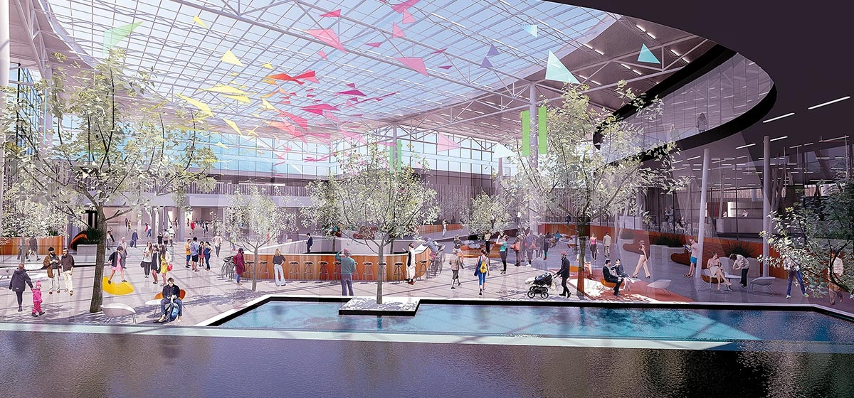 A conceptual design for the new airport terminal with atrium, tree, water and natural lighting.