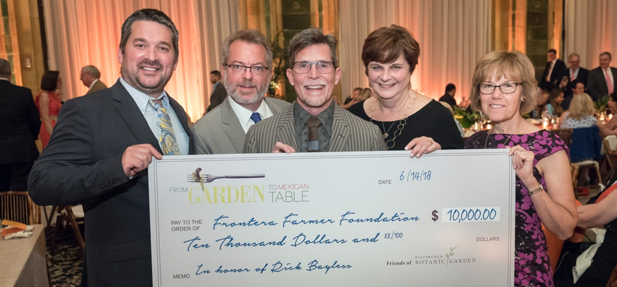 Greg Gunthorp, Keith Kaiser, Rick Bayless, Deann Bayless and Susan Edwards. From Garden to Mexican Table—A Gala Tribute to Rick Bayless, Pittsburgh Botanic Garden. June 14, 2018.