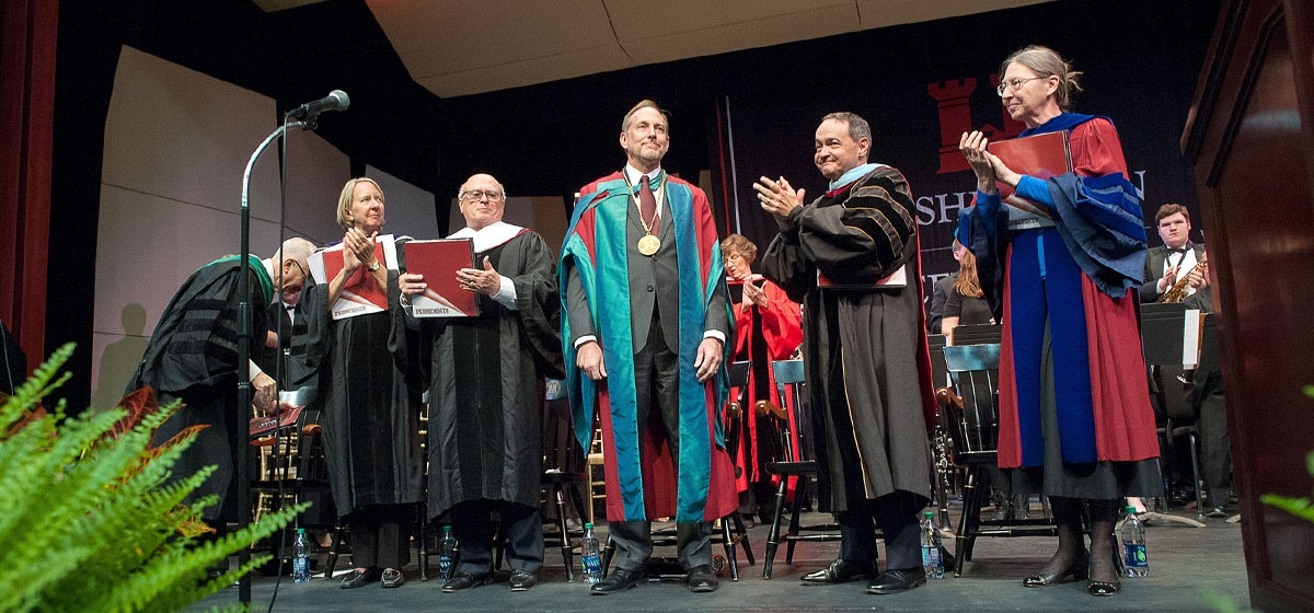 Dr. John C. Knapp is applauded following the Oath of Office. The Inauguration of John C. Knapp, Washington & Jefferson College. October 19, 2017.