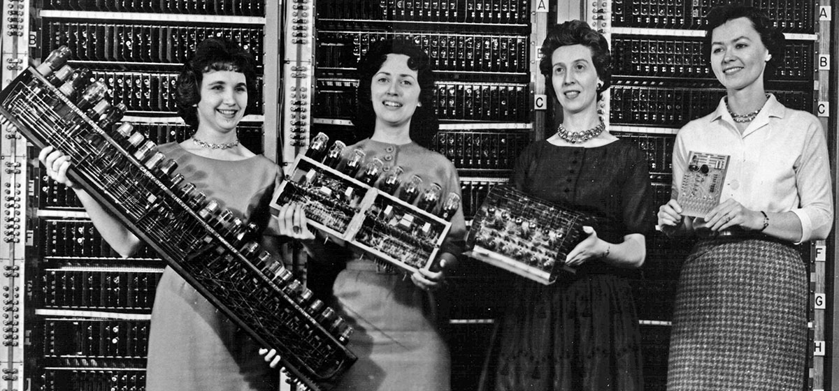 Women holding parts of the first four Army computers, 1962. Left: Patsy Simmers (mathematician/programmer), holding ENIAC board. Next: Mrs. Gail Taylor, holding EDVAC board. Next: Mrs. Milly Beck, holding ORDVAC board. Right: Mrs. Norma Stec (mathematician/programmer), holding BRLESC-I board.