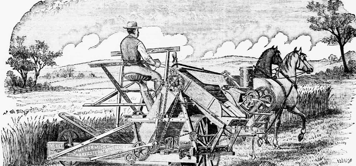 The invention of the American reaper-binder in 1873 revolutionized harvesting by lowering wheat costs, therefore undercutting British wheat farmers and contributing to the Great Depression of British Agriculture.