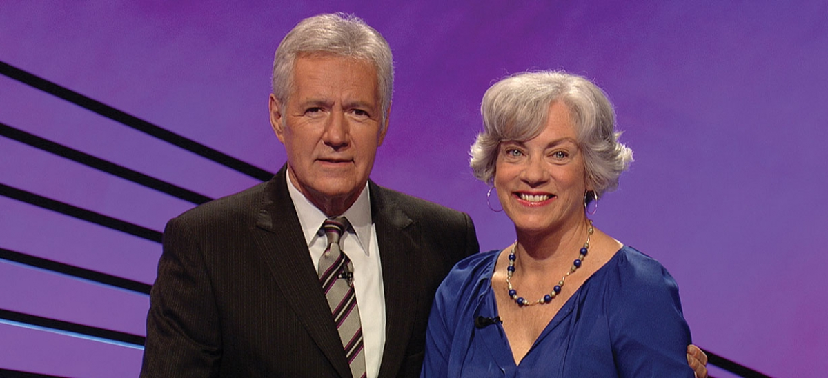 On the Set //  The author with Alex Trebek, who will never doubt her hip-hop credentials again.