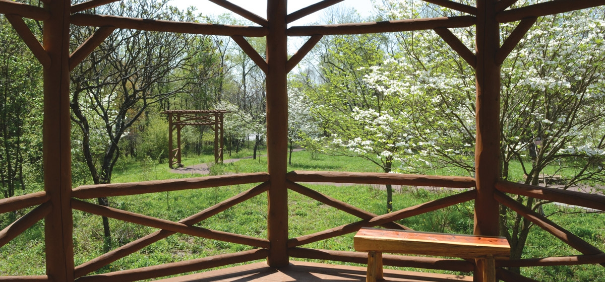 A rustic white cedar gazebo is a centerpiece in the heart of the largest remaining stand of native dogwood trees in the region.