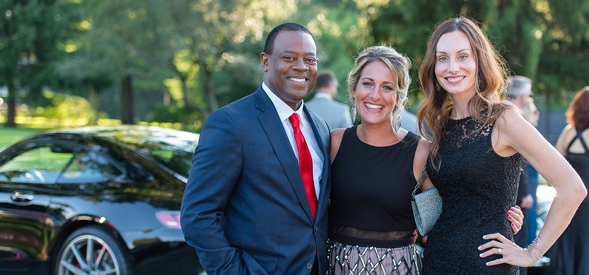Andrew Stockey, Missy Harmon and Angie Glud. Pittsburgh Vintage Grand Prix Black Tie & Tailpipes Gala. Fox Chapel Golf Club. July 6, 2018.