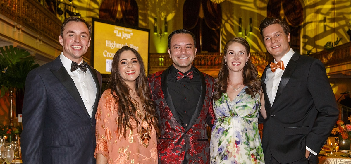 "Event Co-Chairs James Snyder, Danielle Katz, Michael Komo, Rebecca Belczyk, David Belczyk. Pittsburgh Opera's 65th Diamond Horseshoe Ball, ""Jewel of the Amazon."" September 28, 2019."