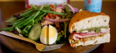 Fresh lunch stop //  Cafe Raymond's Salad Nicoise with a muffuletta sandwich on house-made focaccia bread.