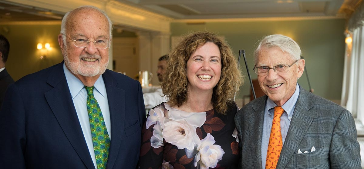 The Children's Institute of Pittsburgh's Associate Board members Harry Thompson and George Greer with President & CEO Wendy Pardee. The Children's Institute of Pittsburgh community reception, Pittsburgh Golf Club. September 14, 2017.