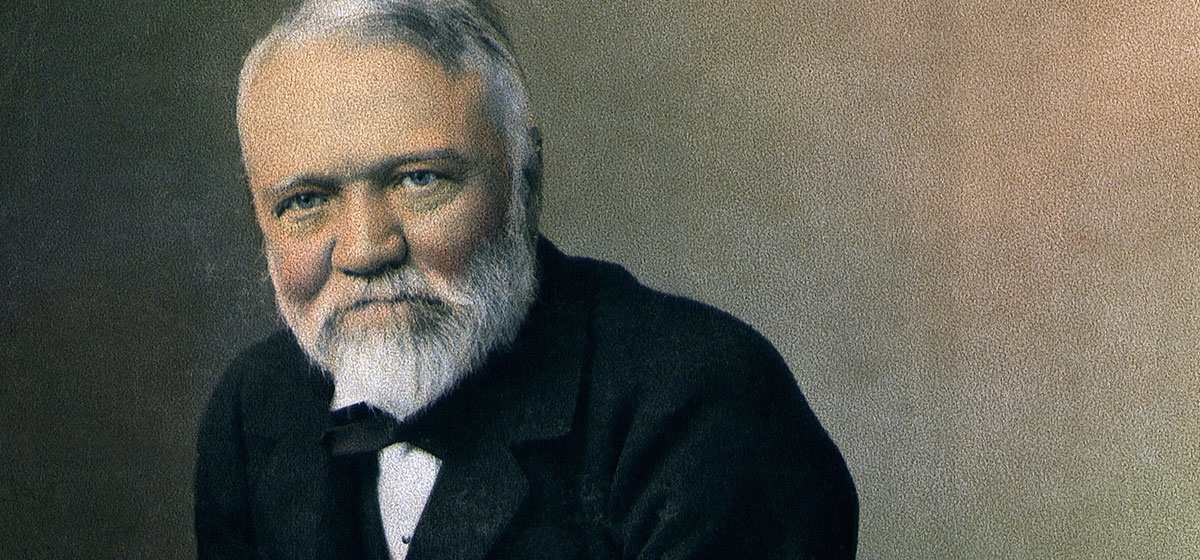 Andrew Carnegie in a hand-tinted portrait, c. 1896