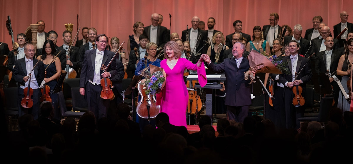 Renee Fleming, Manfred Honeck and the PSO. Pittsburgh Symphony Orchestra's Voyage at Sea Gala. September 15, 2018.