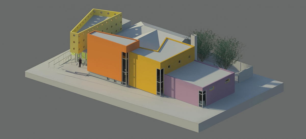 A birds-eye-view rendering of the Sharpsburg Community Library (in a preliminary color scheme) shows off the building's dynamically shaped forms which help define different use areas within the library.