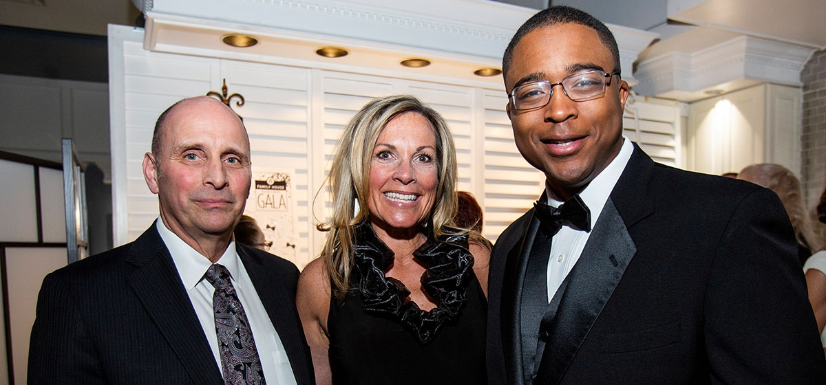 Family House Board Chair Al Vallano, Family House Executive Director Jennifer March, and WTAE's Chris Lovingood, who served as emcee for the evening.