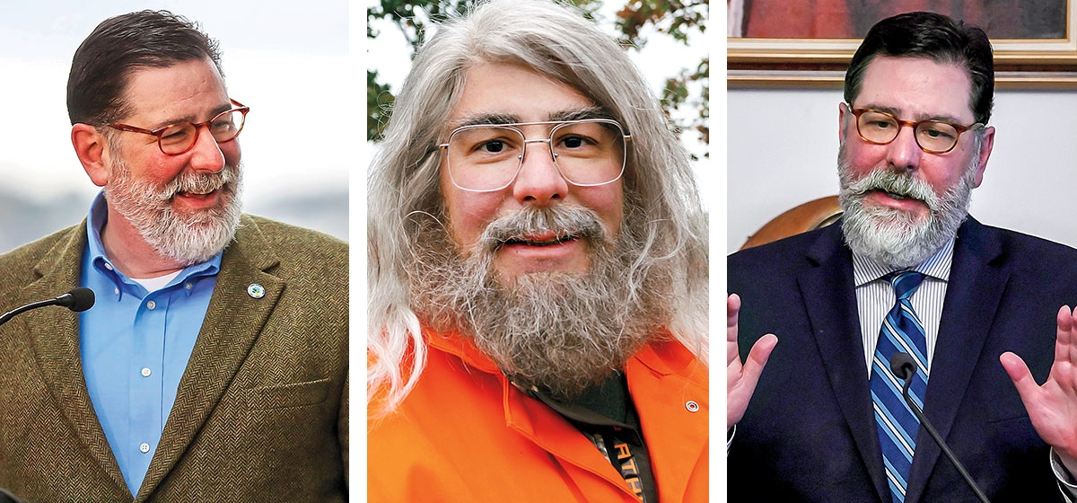"Left: October 2018. Photo courtesy of Pittsburgh Post-Gazette. Middle: Mayor Peduto on the 2014 reality TV show, ""Undercover Boss,"" disguised as a sanitation worker who'd apparently wandered from a Grateful Dead concert. Photo by CBS. Right: November 2018. Photo courtesy of Pittsburgh Post-Gazette."