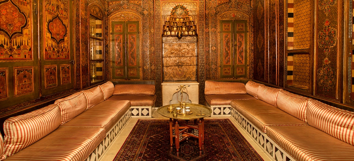 Each of the 30 Nationality Rooms located in the University of Pittsburgh's Cathedral of Learning celebrate the culture and heritage of a nation. The Syria-Lebanon room was the library in an 18th-century home in Damascus, moved piece by piece and reconstructed in Pittsburgh. Its mihrab—the carved prayer niche—originally faced Mecca.