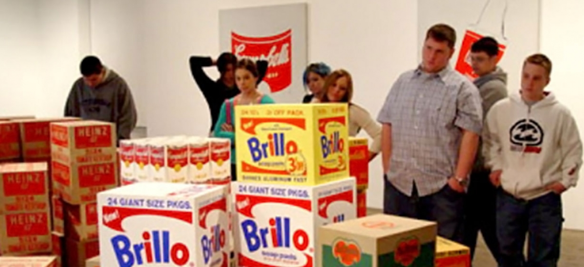 Students study Warhol's Brillo boxes