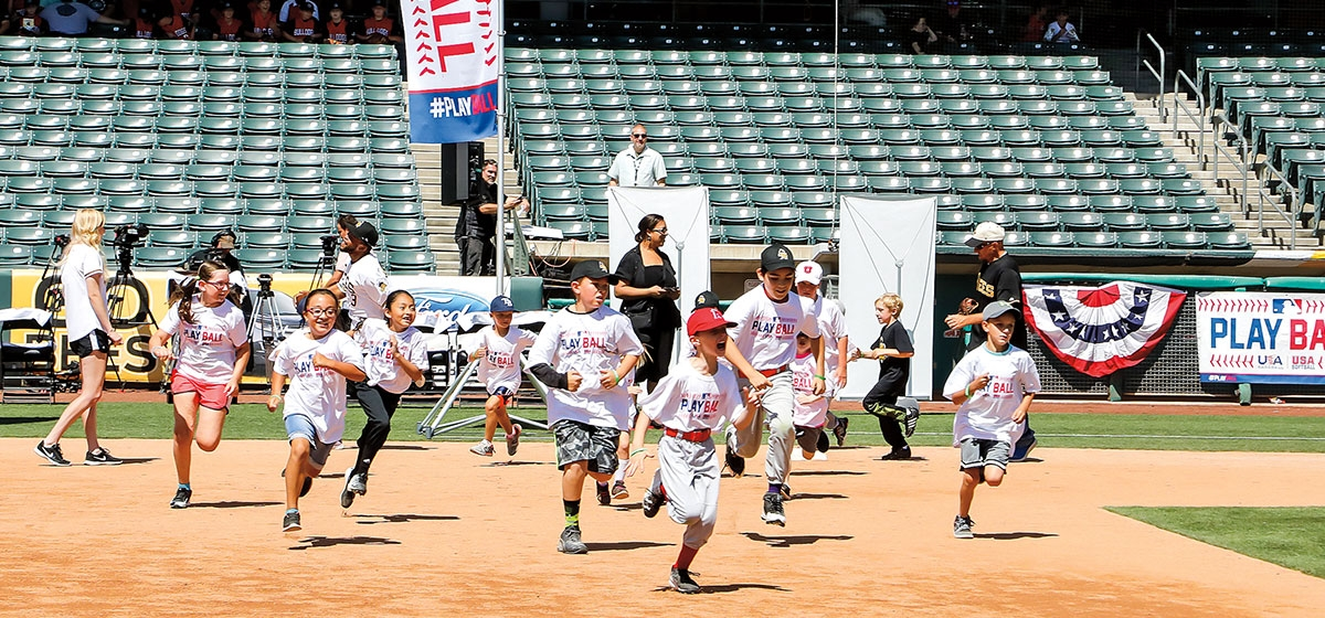 Kids run the bases in a Play Ball event in Salt Lake City. Concerned with baseball's waning popularity, Major League Baseball in 2015 launched the Play Ball initiative, which encourages kids to play informal versions of the game.