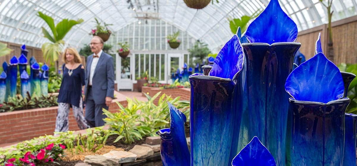 The glass sculptures of Jason Gamrath on display during Super.Natural.Glass Art Grand Opening Gala - Phipps Conservatory and Botanical Gardens, Oakland. May 4, 2017.