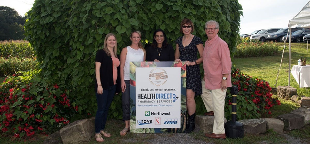 Premier Sponsor, Health Direct Pharmacy Services, represented by Ross Bevevino, Joann Seigel, Kathy Toth, Kristen Pepper and Lauren Gobleck. A Gathering of Chefs, The Bradley Center. September 16, 2018.