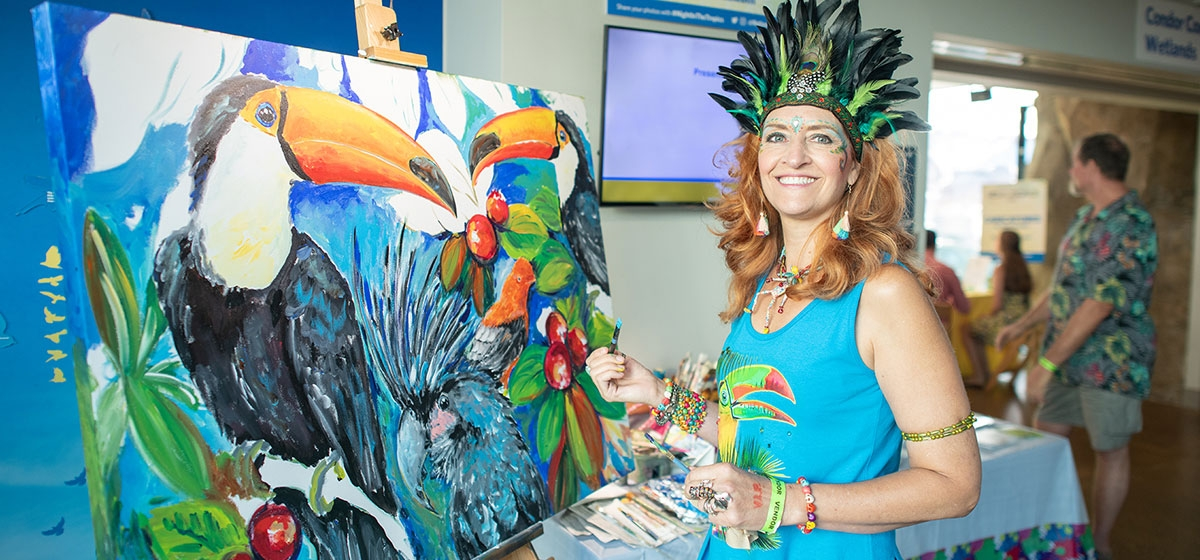 Maria DeSimone Prascak of Maria's Ideas. The National Aviary's 17th annual Night in the Tropics. July 13, 2019.