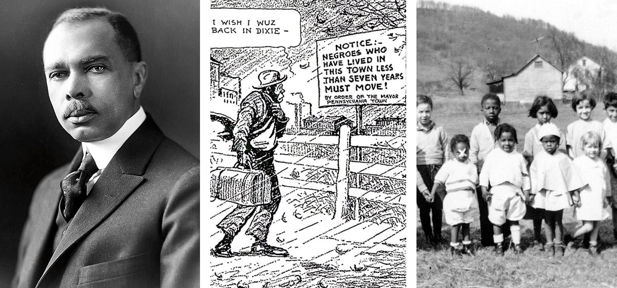 LEFT: James Weldon Johnson, the first African-American executive secretary of the NAACP. Johnson was one of the key figures who forced an investigation into Mayor Cauffiel's actions. Courtesy of the Library of Congress. MIDDLE: A political cartoon in the Dallas News shows what much of the country thought of what happened after the order. Southern newspapers used the incident as propaganda to try to attract African-American workers back to the region. Courtesy of the Johnstown Area Heritage Association. RIGHT: A school photo in Rosedale during the early years of the Great Migration. Courtesy of the Johnstown Area Heritage Association.