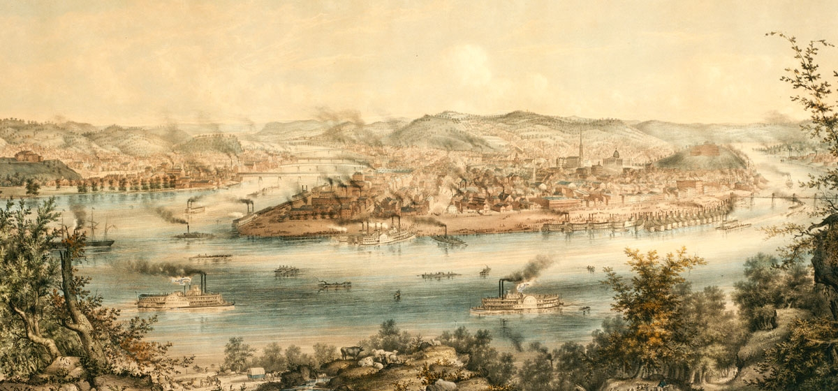 By 1849, Pittsburgh was a bustling industrial town and inland port.