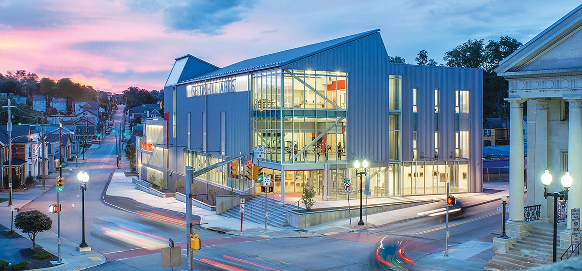 Seton Hill University's dramatic new Visual Arts Center makes art and dance studios visible to a busy intersection in downtown Greensburg.