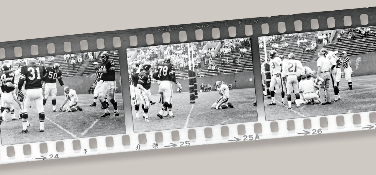 New York Giants Hall of Fame quarterback Y.A. Tittle retired soon after taking a ferocious hit during a 1964 game against the Steelers. Post-Gazette photographer Morrie Berman that day captured the agony of defeat in several photos, one of which would become world famous.