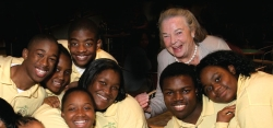 Shown here with students from the NorthSide Urban Pathway Charter School at a 2005 mentoring partners award event, Elsie Hillman was a tireless booster of Pittsburgh and hands-on philanthropist who supported numerous community projects. The Universty of Pittsburgh's Elsie Hillman Civic Forum seeks to expand upon her committment to involving young people in civic life.