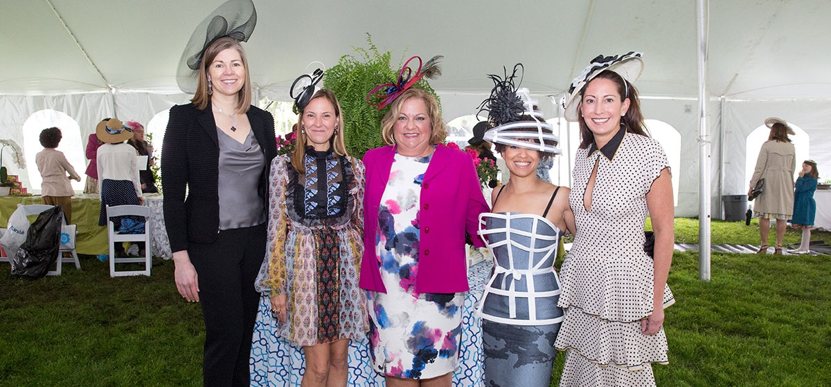 Co-chairs Christy Wiegand, Ramsey Lyons, Charlene Petrilli, Kiya Tomlin and Emy Mack Jamison, Spring Hat Luncheon - Pittsburgh Parks Conservancy, Schenley Park, Oakland. May 6, 2017.